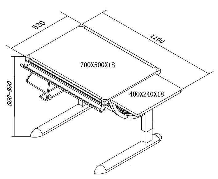 size of drafting table